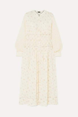 Joseph Tala-woolf Patchwork Ruched Floral-print Silk Crepe De Chine Maxi Dress - Cream