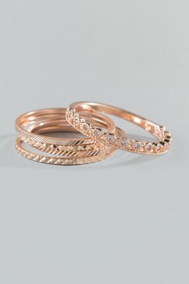 francesca's Margo Five Ring Set - Rose/Gold
