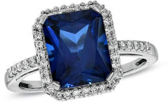 Zales Emerald-Cut Lab-Created Blue and White Sapphire Ring in Sterling Silver