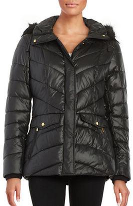 Jones New York Faux Fur-Trimmed Puffer Coat $200 thestylecure.com