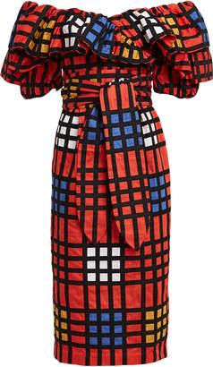 Mara Hoffman Arabella Off-the-Shoulder Grid Dress