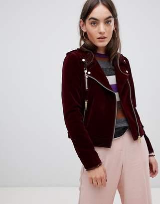 B.young Velvet Biker Jacket