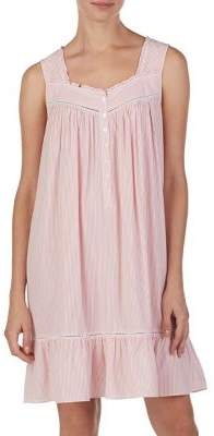 Eileen West Striped Ruffle Trimmed Nightgown