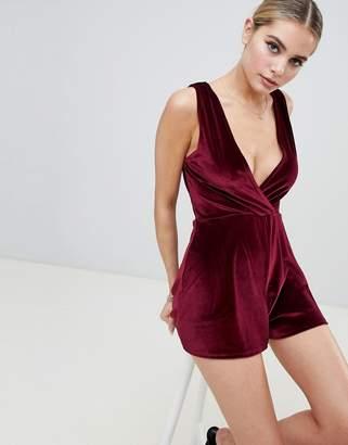 dfd04fd50726c Fashionkilla plunge front playsuit in berry velvet