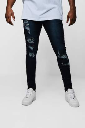 boohoo Big & Tall Distressed Skinny Fit Jeans