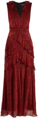 Saloni Lara leopard-print silk-blend devoré midi dress