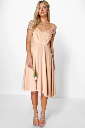 Chiffon midi dress sleeves
