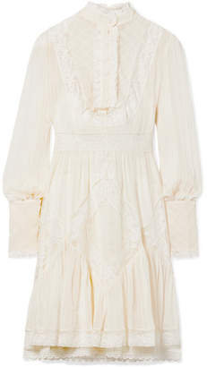 Zimmermann Unbridled Lace-trimmed Pintucked Chiffon Mini Dress - White