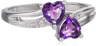 Sterling Silver Diamond Accent and Amethyst Two Heart Ring