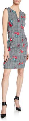 Karl Lagerfeld Paris Plaid & Floral Print Pocket Sheath Dress