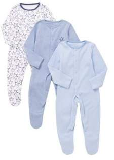 F&F 3 Pack Of Star And Striped Print Sleepsuits 0-1 months