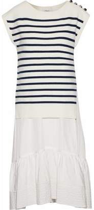 3.1 Phillip Lim Layered Silk And Cotton-Blend Poplin And Striped Merino Wool-Blend Dress
