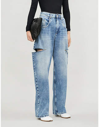 Maison Margiela Wide-leg faded ripped high-rise jeans