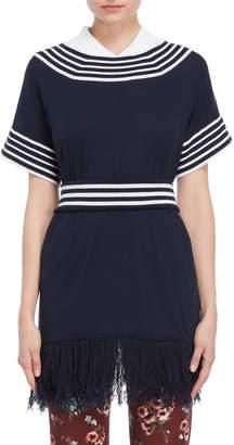 I'M Isola Marras Belted Fringe Longline Sweater