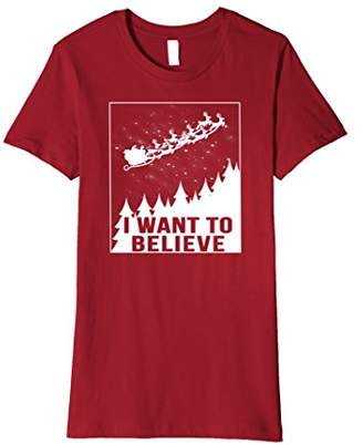 I Want To Believe UFO Santa Sleigh Christmas T Shirt
