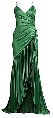 Flor et. al Women's Sharona Pleated Ruffle High-Low Gown - Size 0