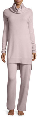 Neiman Marcus Cashmere Collection Cashmere Cowl-Neck Sweater & Pant Lounge Set, Quartz $350 thestylecure.com