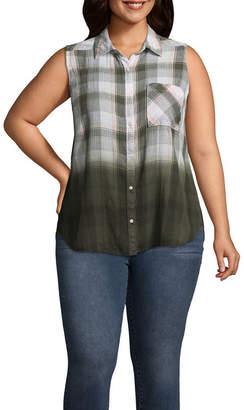 A.N.A Sleeveless Plaid Dip Dye Shirt - Plus