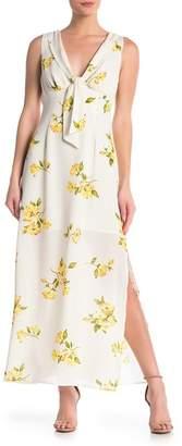 June & Hudson Tie Front Floral Midi Dress