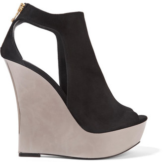 Balmain - Amaya Cutout Suede And Mirrored-leather Wedge Sandals - Black $1,385 thestylecure.com