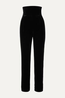 Rasario Velvet Straight-leg Pants - Black
