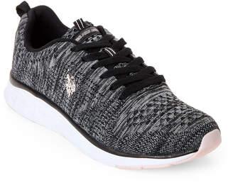 U.S. Polo Assn. Black & Grey Fana Knit Mesh Sneakers
