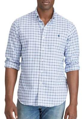 Polo Big And Tall Classic-Fit Checkered Long-Sleeve Cotton Dress Shirt
