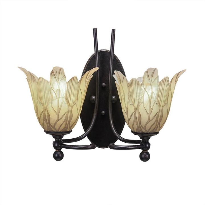 Cambridge SilversmithsCambridge 2-Light Dark Granite Sconce with Vanilla Etched Glass