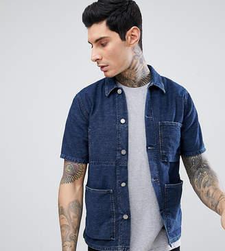 Nudie Jeans Svante Stripe Denim Worker Short Sleeve Shirt