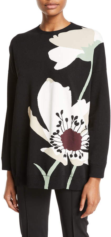 Valentino Crewneck Floral-Intarsia Knit Pullover Sweater