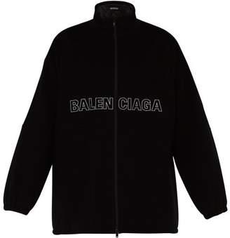 Balenciaga Logo Embroidered Wool Fleece Jacket - Mens - Black