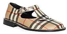 Burberry Women's Girl's Kipling Archival Plaid Mary-Jane T-Strap Shoes
