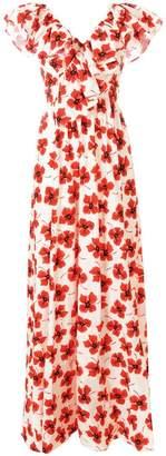Fausto Puglisi poppy print ruffled maxi dress
