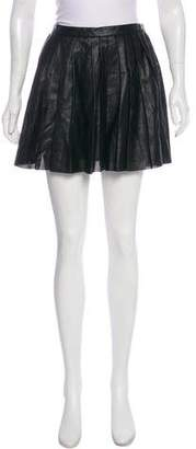 Theory Leather Pleated Mini Skirt w/ Tags