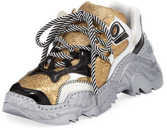 No.21 No. 21 Metallic Lace-Up Runner Sneakers