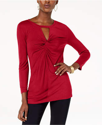INC International Concepts I.n.c. Petite Twist-Front Keyhole Top, Created for Macy's