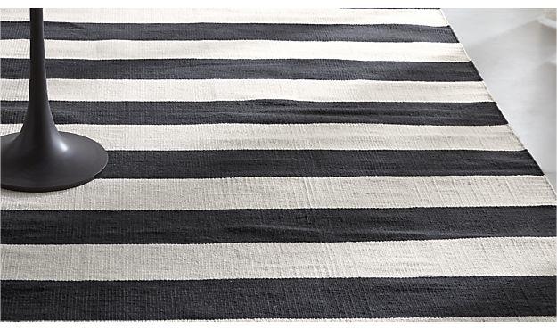 Crate & Barrel Olin Black Striped Cotton Dhurrie Rug