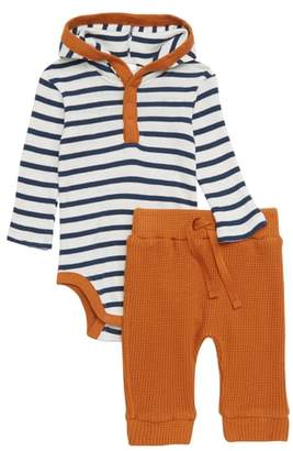 Nordstrom Stripe Hooded Bodysuit & Thermal Pants Set