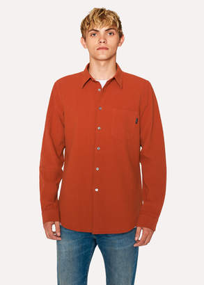 Paul Smith Men's Tailored-Fit Rust Textured Cotton Shirt