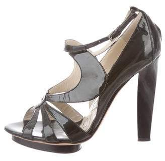 Alberta Ferretti Patent Leather Platform Sandals