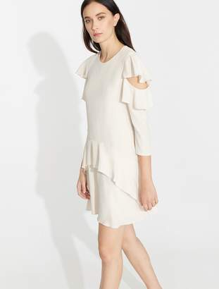 Halston Flutter Sleeve Flowy Dress