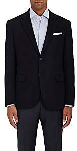 Barneys New York MEN'S WOOL FLEECE TWO-BUTTON SPORTCOAT-NAVY SIZE 42 L