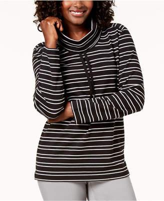 Karen Scott Striped Drawstring Funnel-Neck Top, Created for Macy's