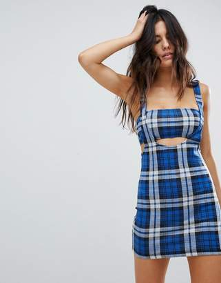 Motel Cami Cutout Mini Dress In 90'S Check