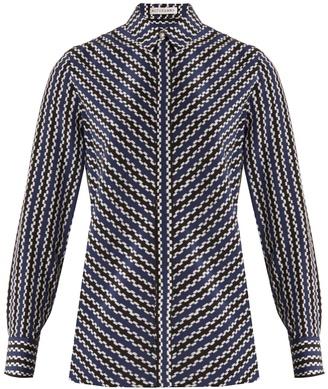 Chika geometric-print silk crepe de Chine blouse