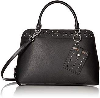 Calvin Klein Susan Saffiano Leather Studded Dome Satchel with Card Case Hanger