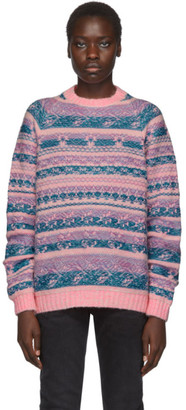 Acne Studios Pink and Blue Jacquard Karlos Sweater