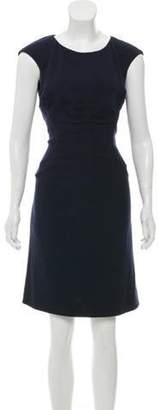 Chanel Wool-Blend Sheath Dress Navy Wool-Blend Sheath Dress