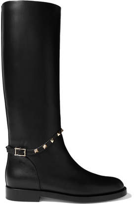 Valentino Garavani Studded Leather Knee Boots - Black