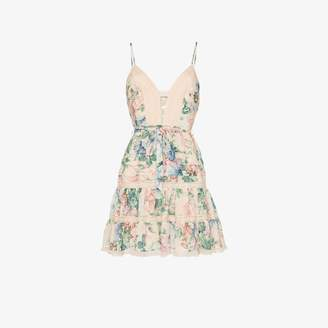 Zimmermann Verity scalloped floral print silk cotton blend mini dress